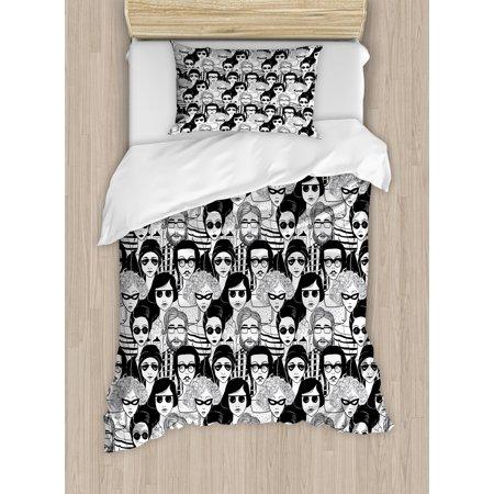Doodle Twin Size Duvet Cover Set, Crowded Street Sunglasses on Everybody Aviators Urban Life Modern Artwork Print, Decorative 2 Piece Bedding Set with 1 Pillow Sham, Black White, by - Matrix Twins Sunglasses