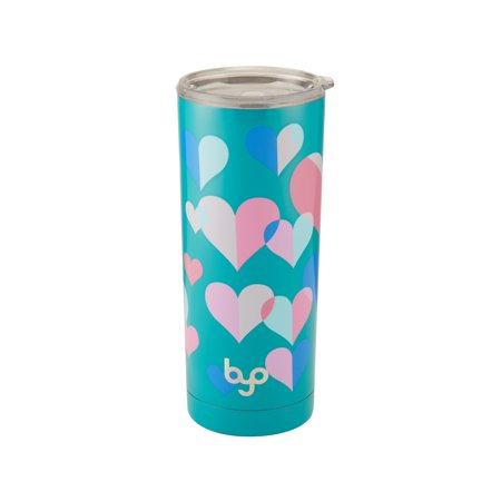 Byo 20 Ounce Stainless Steel Tumbler Gloss Hearts Teal Floral (Kind Hearts Tumbler)