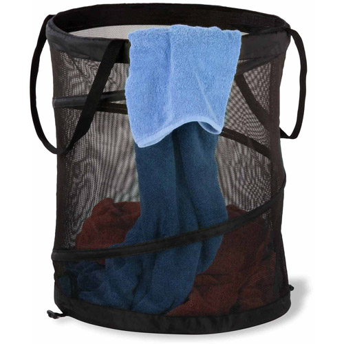 Honey Can Do Medium Mesh Pop-Up Hamper with Handles, Multicolor (Pack of 2)