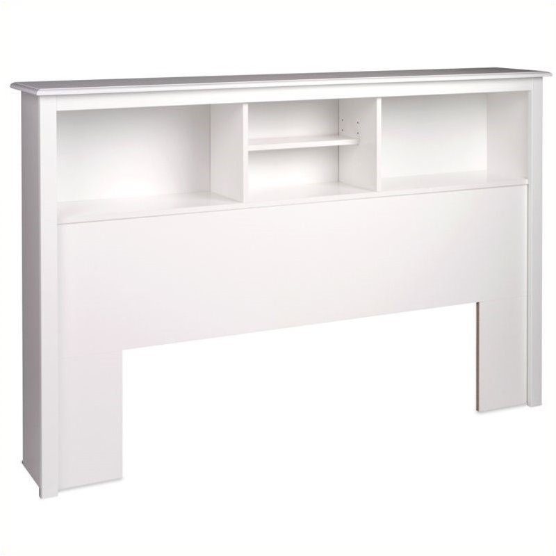 Bowery Hill Full Queen Bookcase Headboard in White