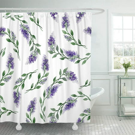 Beautiful Blossom (PKNMT Green Beautiful Watercolor Pattern of Lilac Floral Purple Bloom Blooming Blossom Bud Bathroom Shower Curtain 66x72 inch )