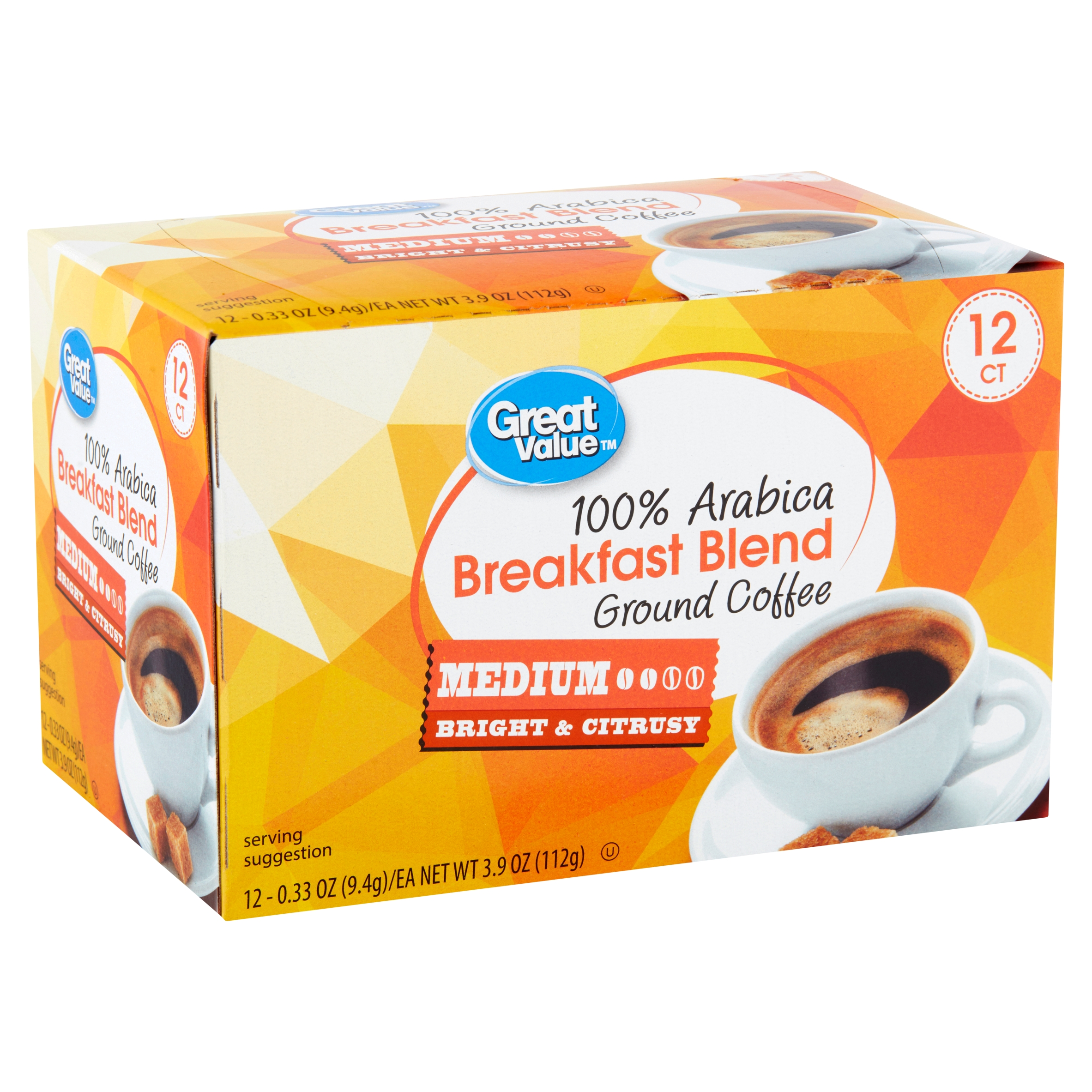 Great Value 100% Arabica Breakfast Blend Medium Ground Coffee, 0.33 oz, 12 count