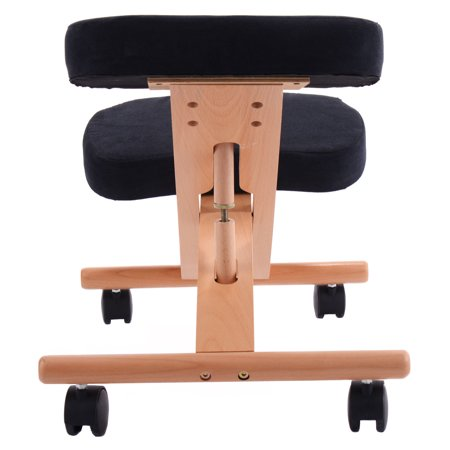 Costway Ergonomic Kneeling Chair Wooden Adjustable Mobile Padded Seat and Knee Rest