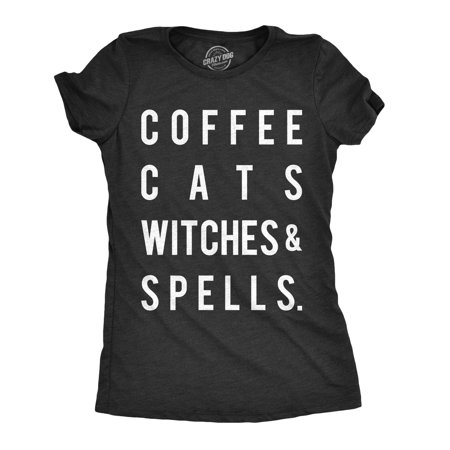 Womens Coffee Cats Witches And Spells Tshirt Funny Halloween Party Tee For Ladies - Witch Clothing