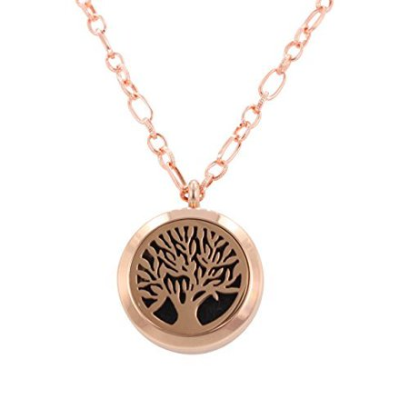 White Gold Round Locket - Aromatherapy Tree Necklace, Small Round Essential Oil Diffuser Locket in Rose Colored Stainless Steel, 29 Inch Chain, #6377