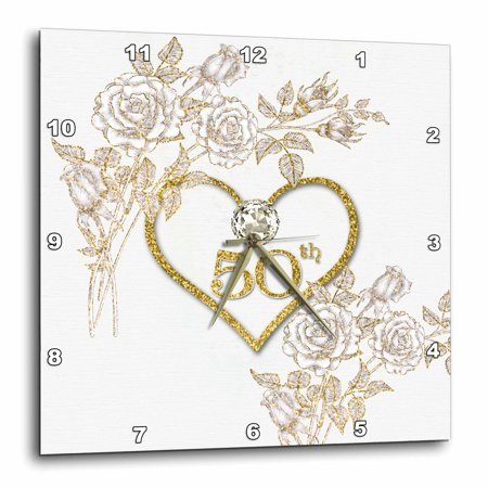 50th Anniversary Clocks - 3dRose 50th Golden Wedding Anniversary in Faux Gold Glitter Heart on White - Wall Clock, 10 by 10-inch