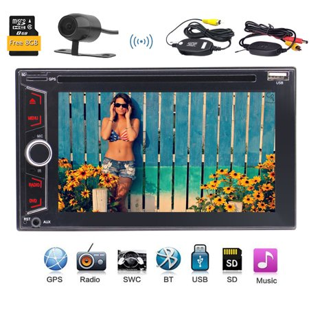 Wireless Camera Included!EinCar Double 2 Din GPS Car Stereo In Dash Headunit DVD CD Player with 6.2'' Capacitive Touch Screen Support FM AM RDS Radio Dual TF Card Slot USB AUX SWC with Free 8GB M Denon Dual Cd Player