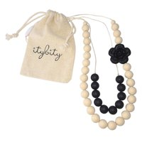 Baby Teething Necklace for Mom, Silicone Teething Beads, 100% BPA Free (Black/Cream)