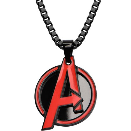 Men's Stainless Steel Black Ion Plated with Red Avengers Logo Pendant, 24 Chain - Avengers Jewelry