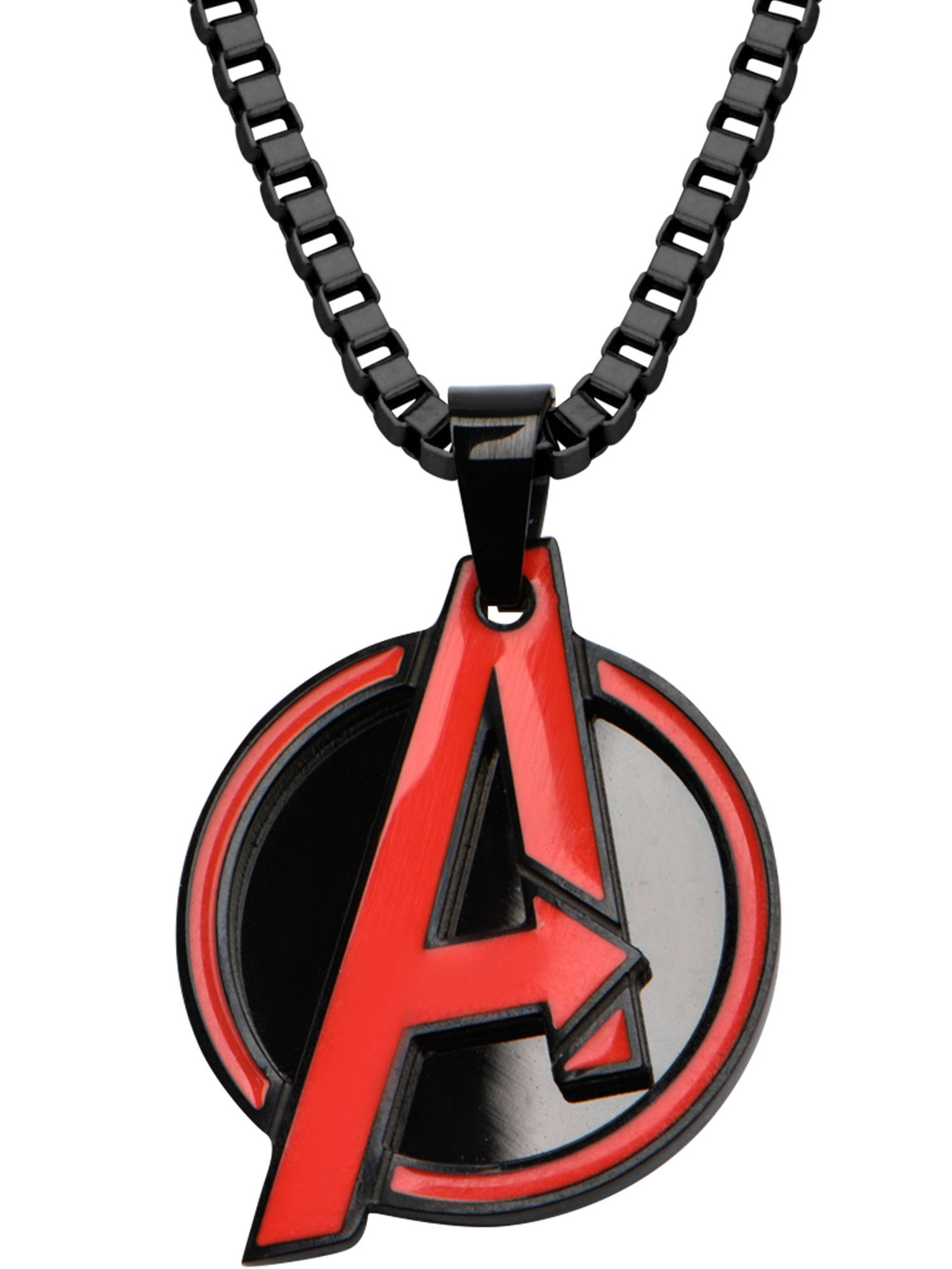 """Marvel Men's Stainless Steel Black Ion Plated with Red Avengers Logo Pendant, 24"""" Chain"""