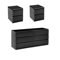 3 Piece Set with 6 Drawer Double Dresser and 2 Night Stands in Black Woodgrain