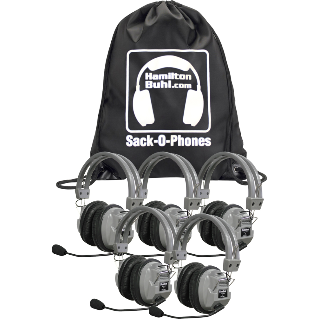 Hamilton Buhl Sack-O-Phones, 5 HA7M Deluxe Headphones w/ Mic in A Carry Bag (sop-ha7m)