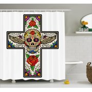 Sugar Skull Decor Shower Curtain Colorful Cross With Winged Roses And Floral Swirls