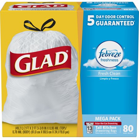 Glad Odorshield Tall Kitchen Drawstring Trash Bags Febreze Fresh Clean 13 Gallon 80