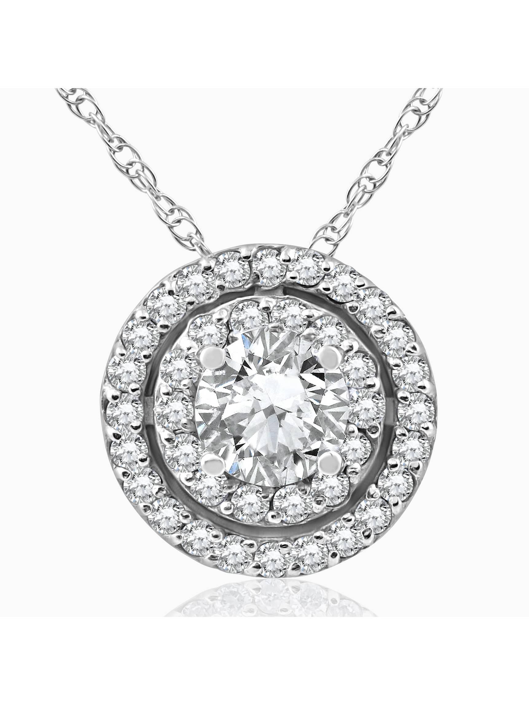 """1ct Diamond Double Halo Pendant 14K White Gold Womens Necklace 18"""" Chain by Pompeii3"""