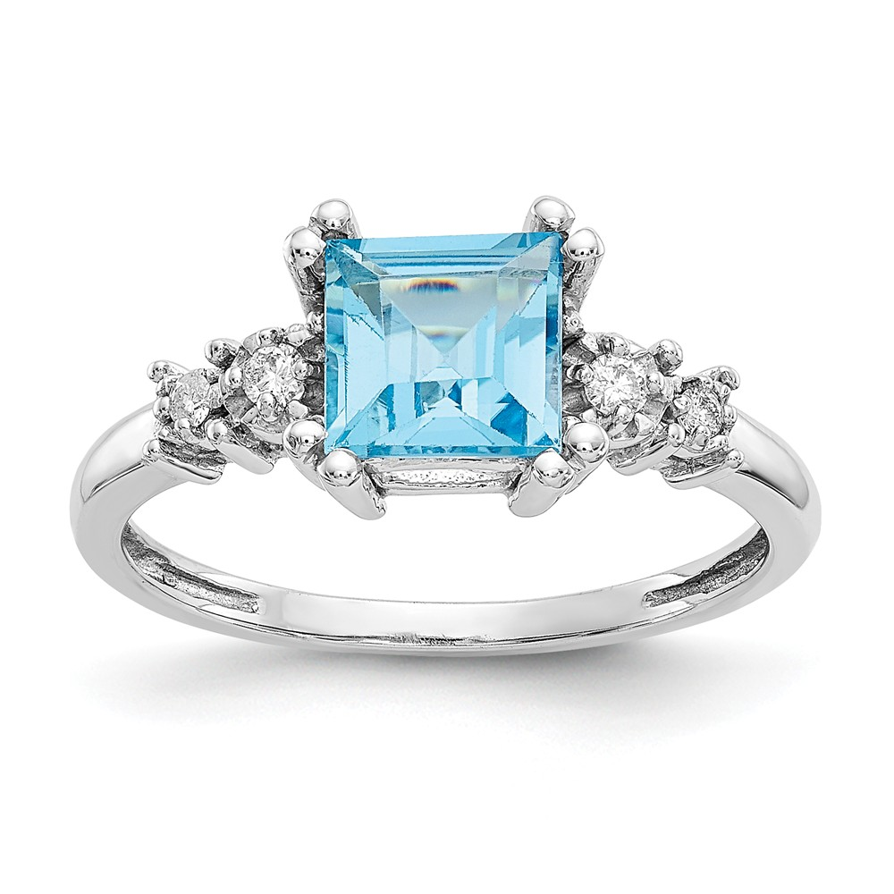 10k White Gold Diamond and Blue Topaz Ring. Carat Wt- 0.078ct. Gem Wt- 1.3ct
