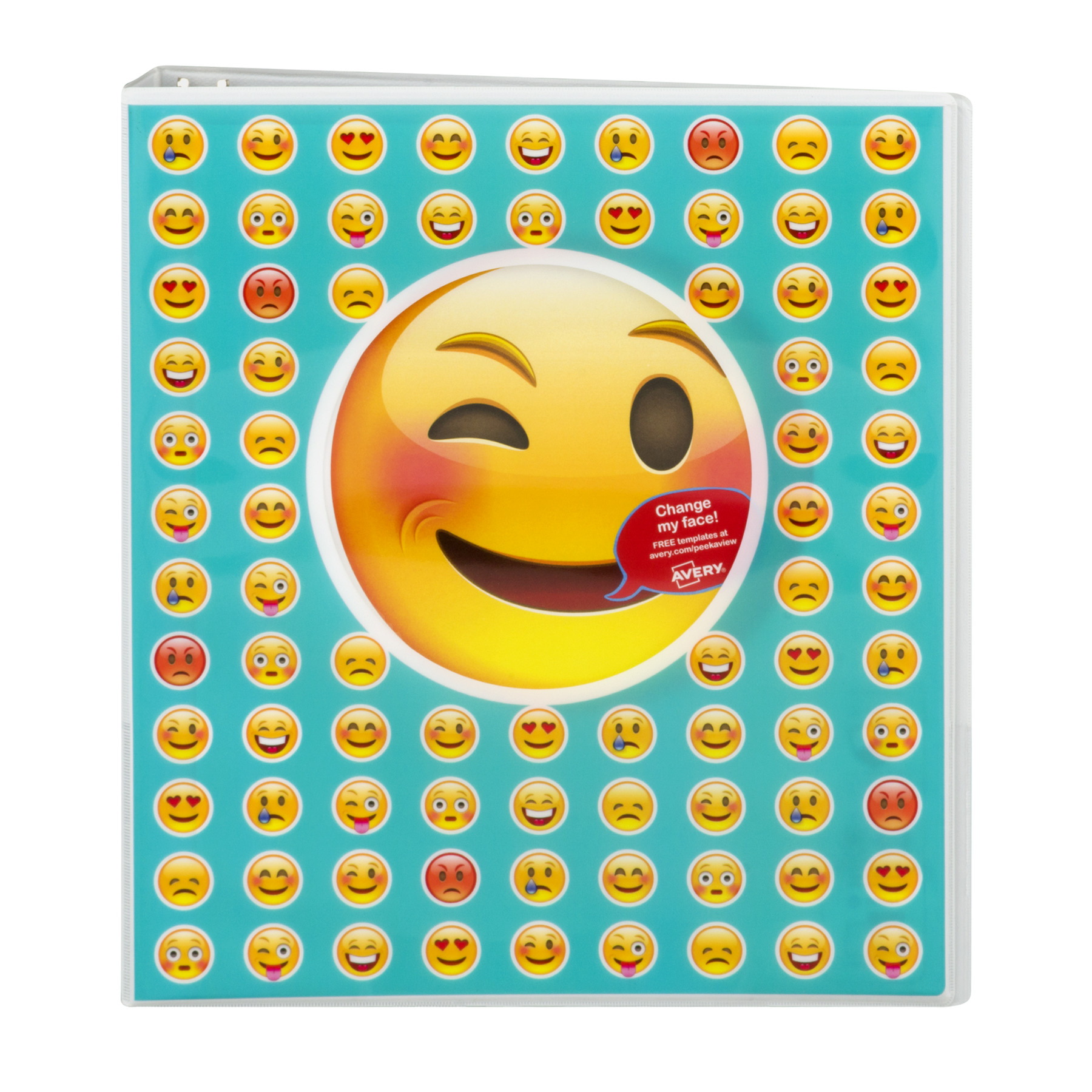 "Avery 1"" Peek-a-View Emoji Binder, People Design"