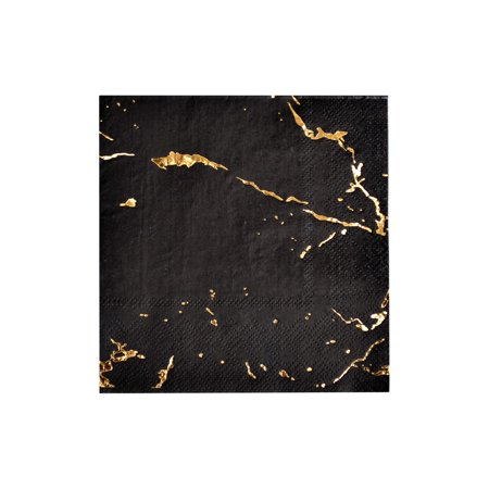 Harlow & Grey, Vanity Black Marble Cocktail Paper Napkins, 5