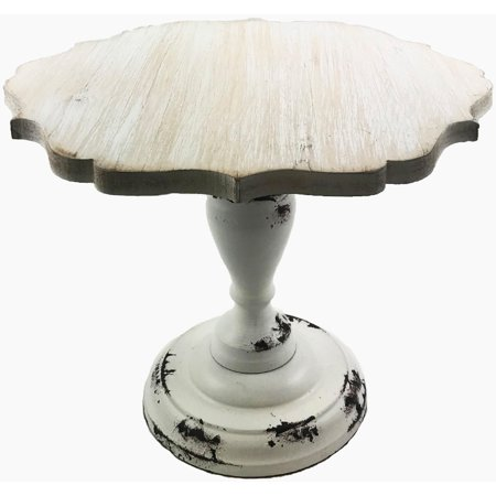 Hampton Art Cake Stand Large Wood W/Galvinized Edge (Large Cache)