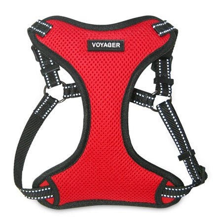 Voyager by Best Pet Supplies - Fully Adjustable Step In Dog Harness with Reflective 3M Piping (Red,