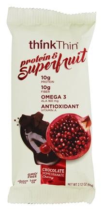 thinkThin Superfruit Protein & Fiber Bar, Chocolate Pomegranate Cherry,10g Protein