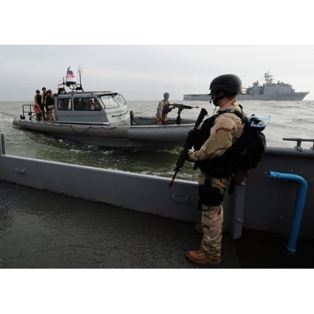 LAMINATED POSTER while a rigid hull inflatable boat brings additional team members from Gunston Hall for an anti-pira Poster Print 24 x 36