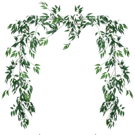 1 Pack Artificial Hanging Leaves Vines, 5.7 Ft Fake Willow Leaves Twigs Silk Plant Leaves Garland String in Green for Indoor/Outdoor Wedding Decor Party Supplies Greenery Crowns Wreath (Green)
