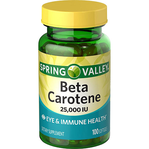 Spring Valley Beta Carotene  Dietary Supplement Softgels, 25000 IU, 100 Ct