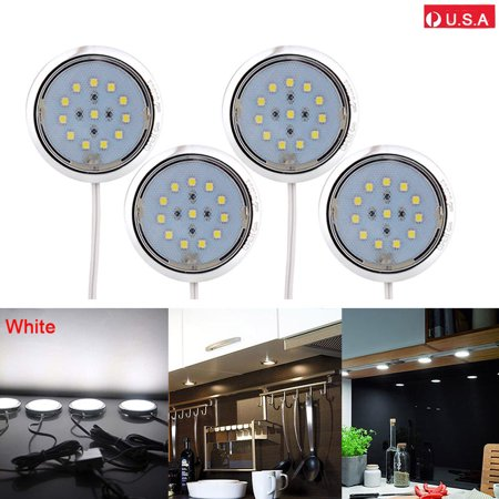4pcs led energy saving lighting kit kitchen counter under cabinet puck lights white. Black Bedroom Furniture Sets. Home Design Ideas