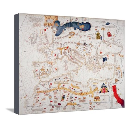 Copy of Catalan Map of Europe, North Africa and the Middle East Stretched Canvas Print Wall Art By Abraham (Map Of Europe Middle East And North Africa)