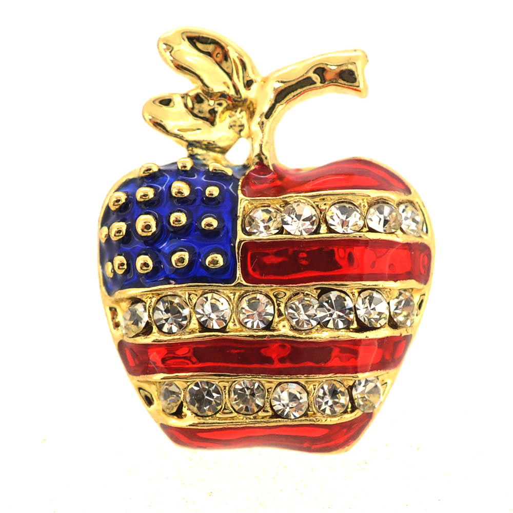 Gold American Flag Apple Patriotic Crystal Pin Brooch by