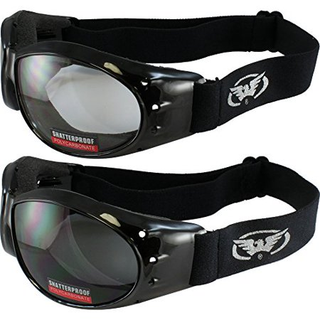 - Two Pairs of Global Vision Eliminator Deluxe Red Baron Style Padded Motorcycle Goggles Black Frames Smoke and Clear Lens