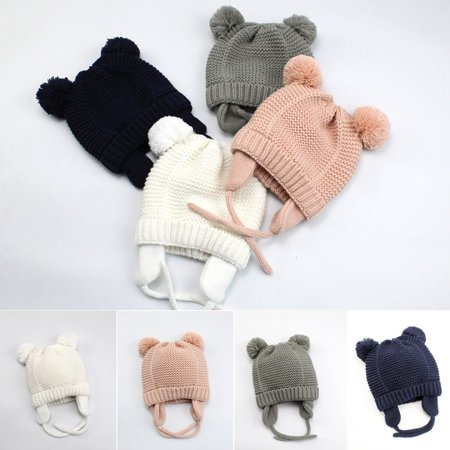 Cute Toddler Kids Girl&Boy Baby Infant Winter Warm Crochet Knit Hat Beanie - Infant Police Hat