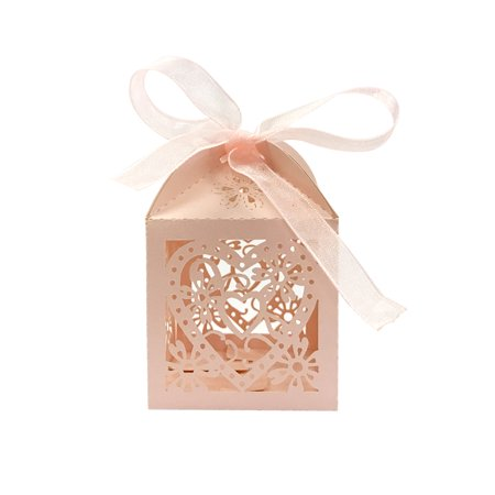 Wrapables® Hearts and Flowers Wedding Party Favor Boxes Gift Boxes with Ribbon (Set of 50), Pink - Heart Personalized Gift Box