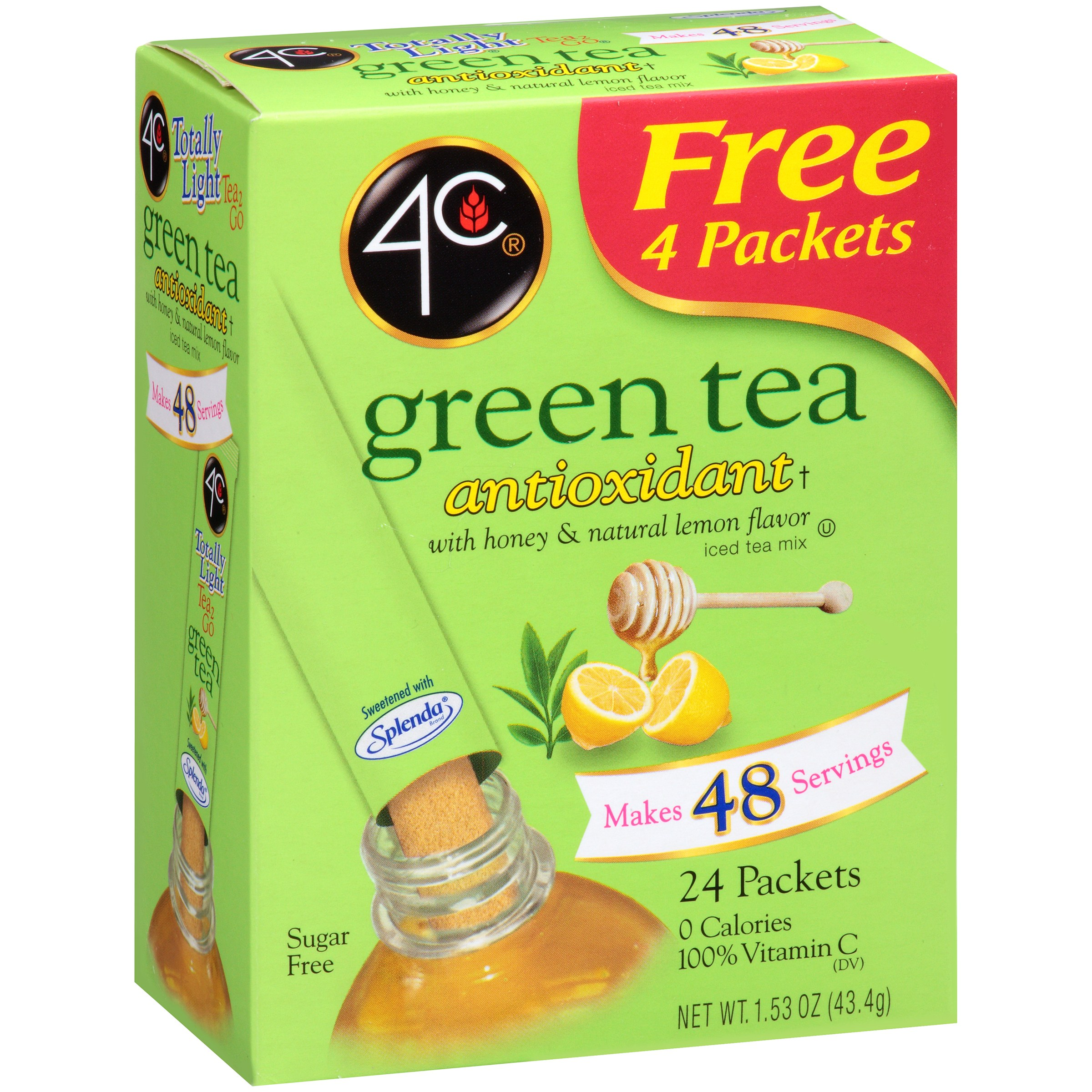 4C Totally Light Drink Mix, Green Tea, 1.53 Oz, 20 Packets, 1 Count