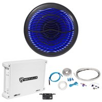 "Rockville MS10LB 10"" 2400w Black Marine/Boat 10"" LED Subwoofer+Mono Amp+Wire Kit"
