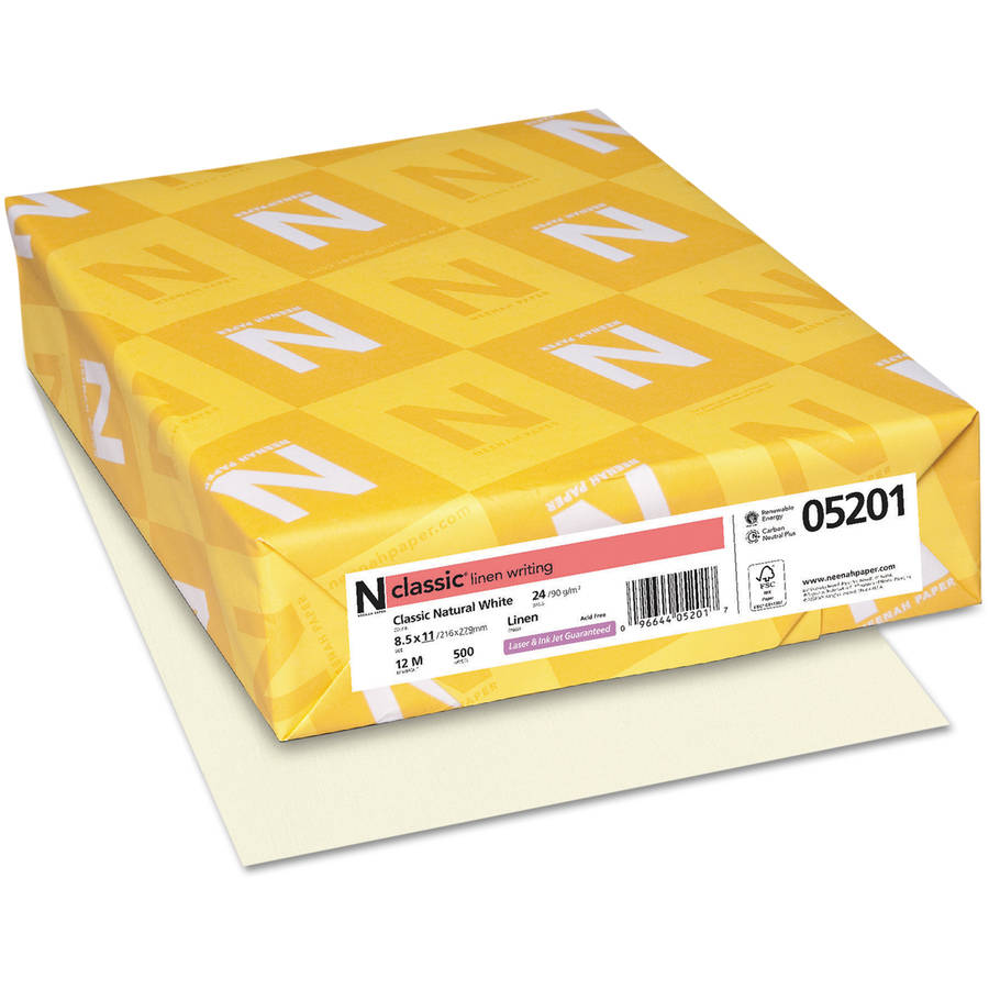 "Neenah Paper Classic Linen Stationery Writing Paper, 8.5"" x 11"", Natural White, 500 Sheets"