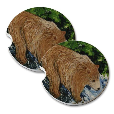 - KuzmarK Sandstone Car Drink Coaster (set of 2) - Young Grizzly Bear Fishing Wildlife Art by Denise Every