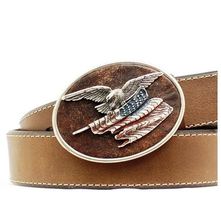 Nocona Western Belt Mens Leather Eagle Flag Buckle Brown N2411344 - Mens Belt Buckle