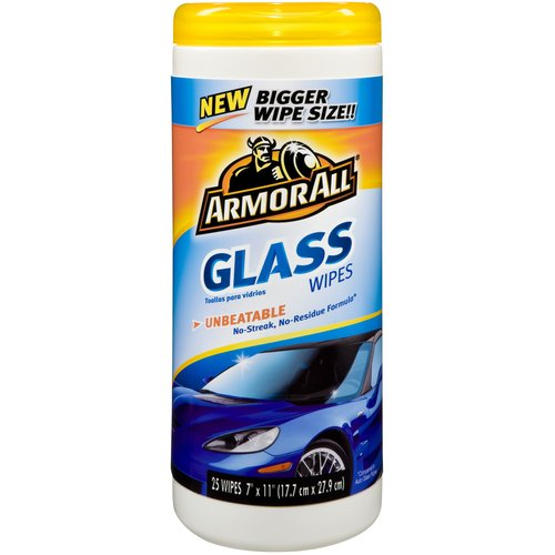 Armor All Glass Wipes Canister, 25 count, Auto Glass Cleaner, Car Glass, Auto Detail, Windshield, 410865