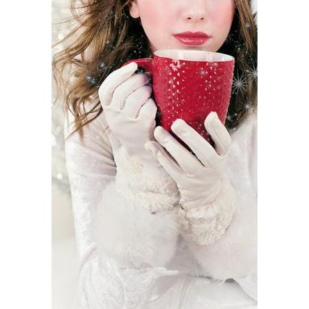 Canvas Print Red Mug Christmas Xmas Hot Chocolate Holiday Stretched Canvas 10 x 14