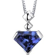 6.25 Ct Superman Cut Simulated Alexandrite Rhodium-Plated Sterling Silver Pendant, 18