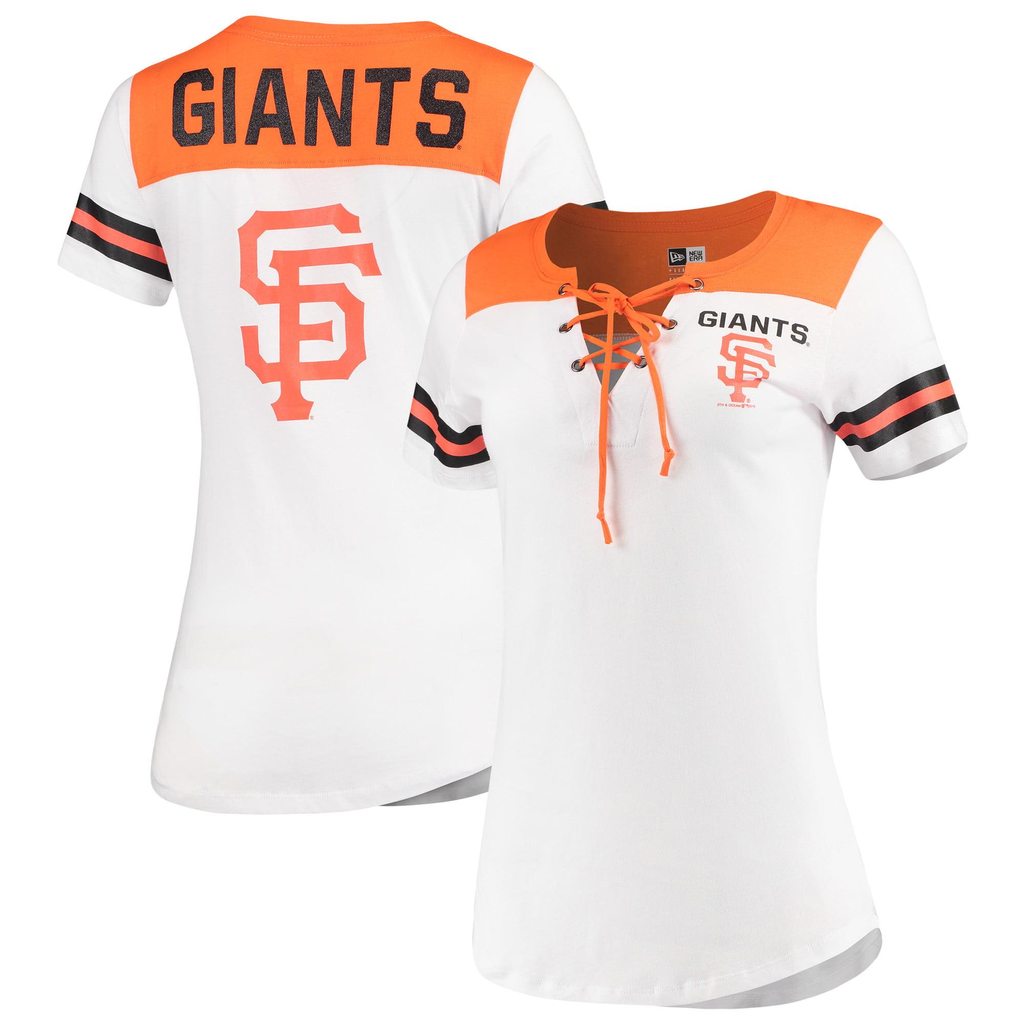 San Francisco Giants 5th & Ocean by New Era Women's Baby Jersey Lace-Up V-Neck T-Shirt - White/Orange