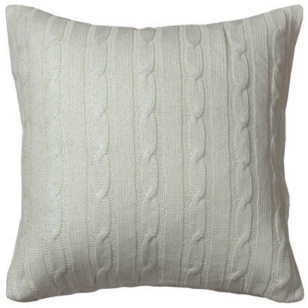 Rizzy Home One Of A Kind Cable Knit Decorative Throw Pillow, 18u0022 x 18u0022, Cream