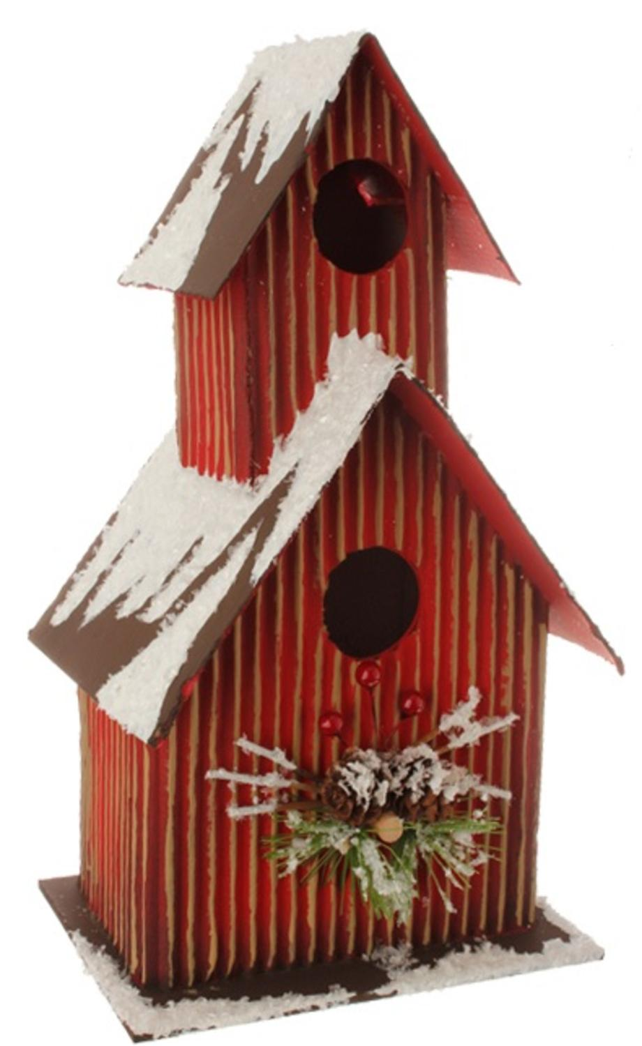 "11.5"" Country Cabin Frosted Red and Brown Birdhouse Table Top Christmas Decoration"