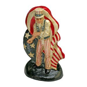 Fighting Uncle Sam Cast Iron Bookend and Doorstop Sculpture by Design Toscano