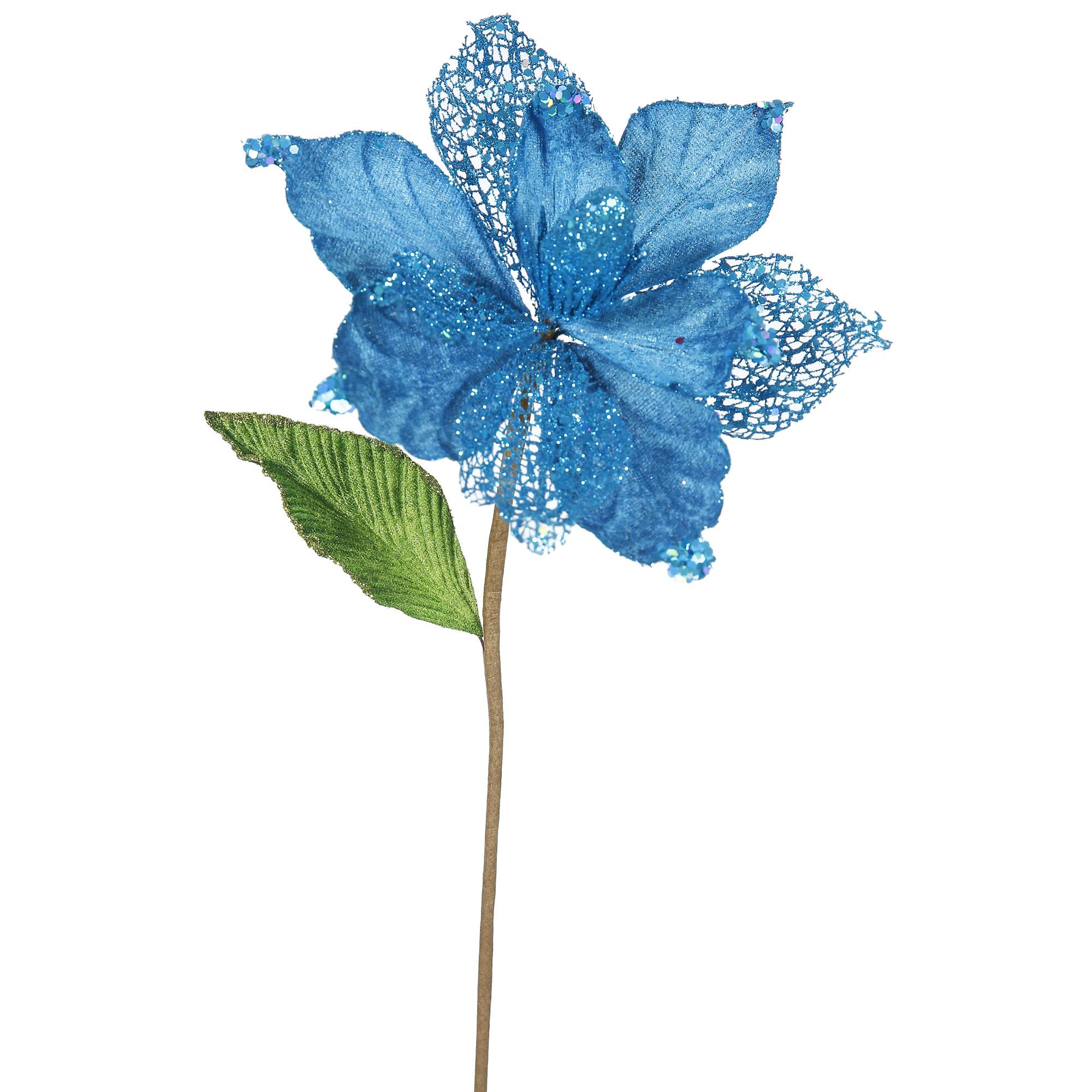 "Vickerman 22"" Turquoise Magnolia, 8"" Flower 6/Bag"