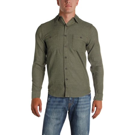 Royal Robbins Mens Bristol Tweed Woven Long Sleeves Button-Down Shirt Green S