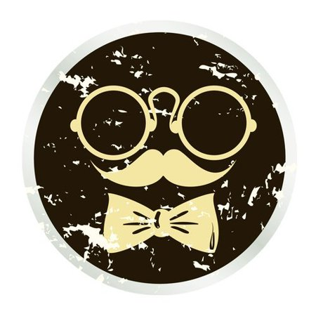 MKHERT Abstract Face with Glasses Mustache and Bow Tie Round Mousepad Mat For Mouse Mice Size 7.87x7.87 inches](Glasses And Mustache)