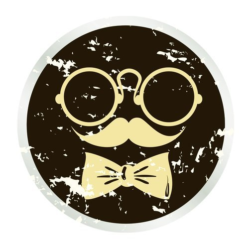 MKHERT Abstract Face with Glasses Mustache and Bow Tie Round Mousepad Mat For Mouse Mice Size 7.87x7.87 inches